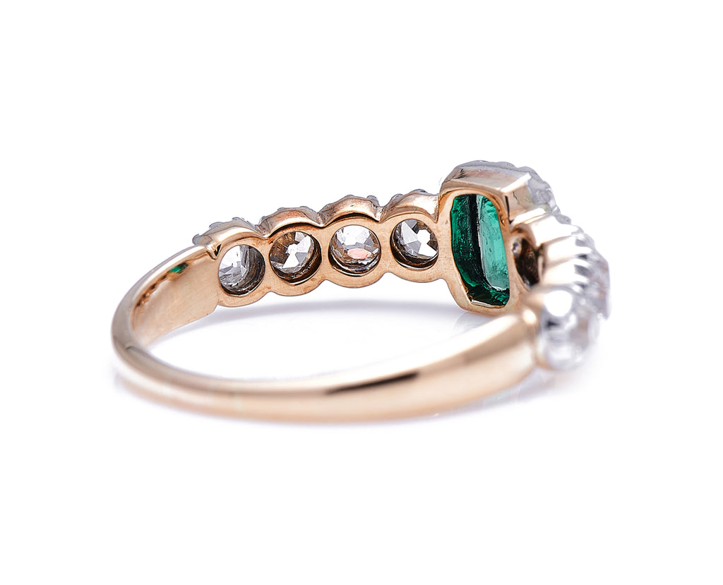 Early Victorian, 18ct Gold, Silver, Emerald and Diamond Ring