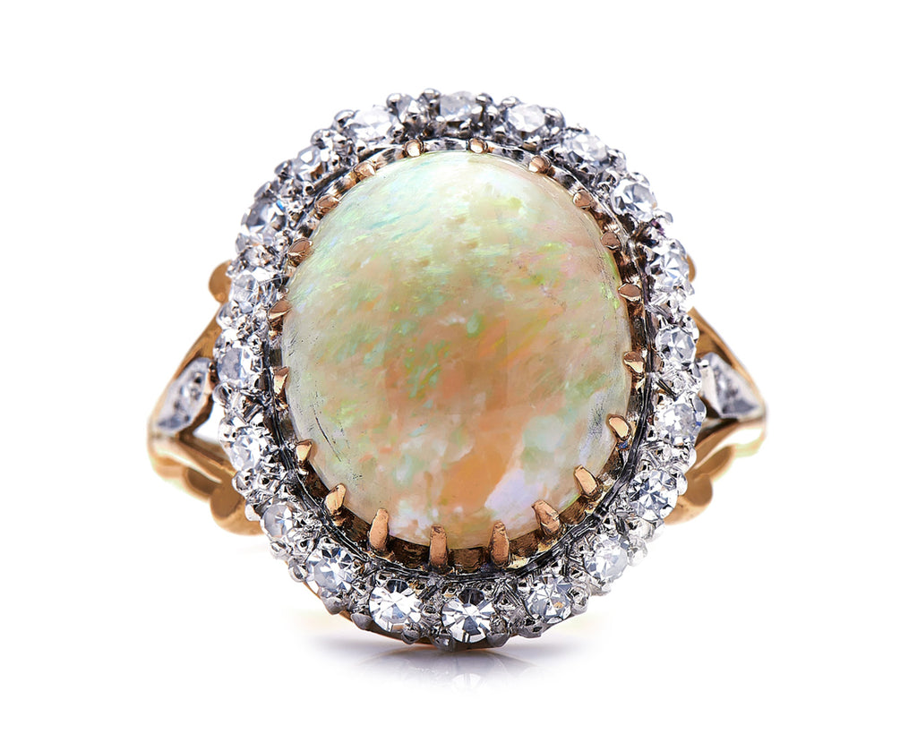 Edwardian, 18ct Gold, Australian Opal and Diamond Cluster Ring