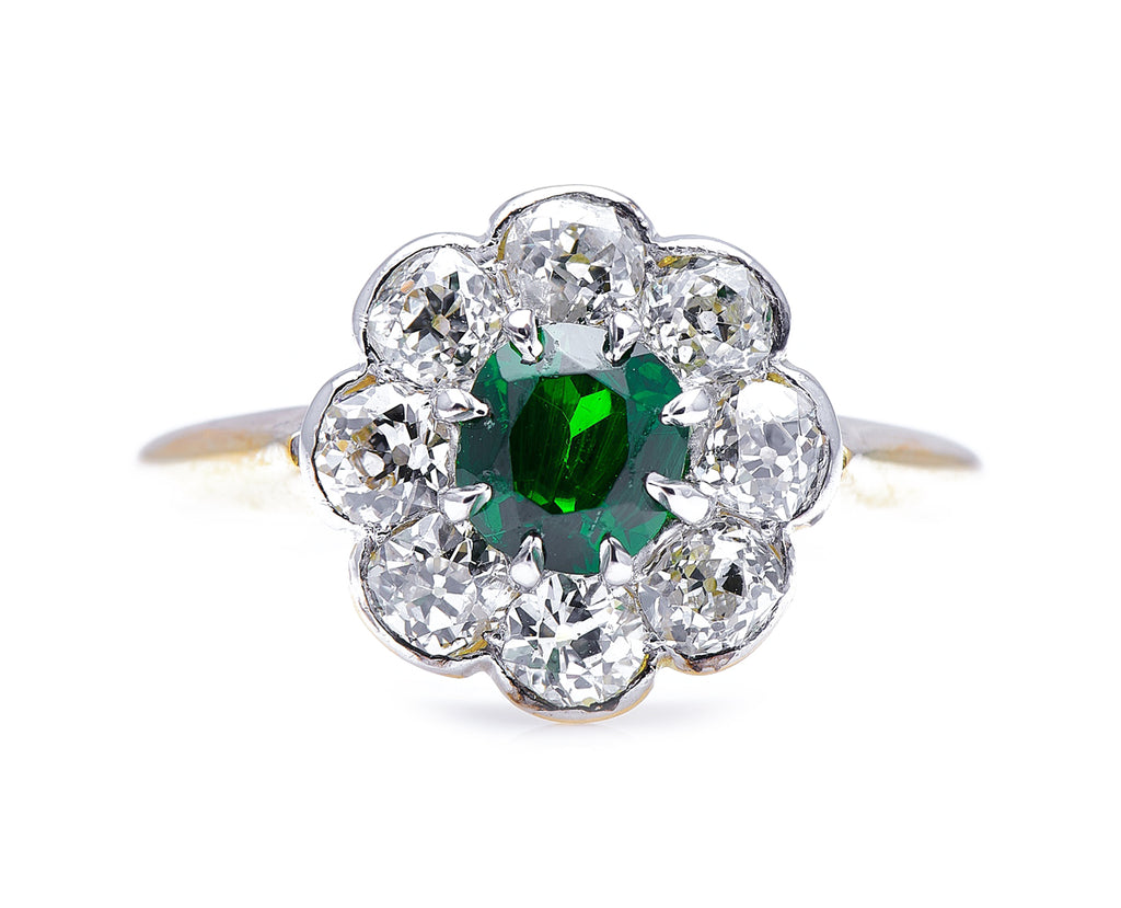 Edwardian, 18ct Gold, Demantoid Garnet and Diamond Cluster Ring