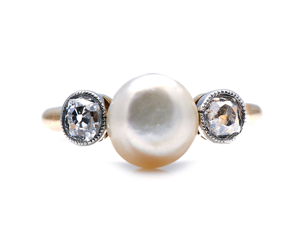 Edwardian, 18ct Gold, Natural Pearl and Diamond Ring