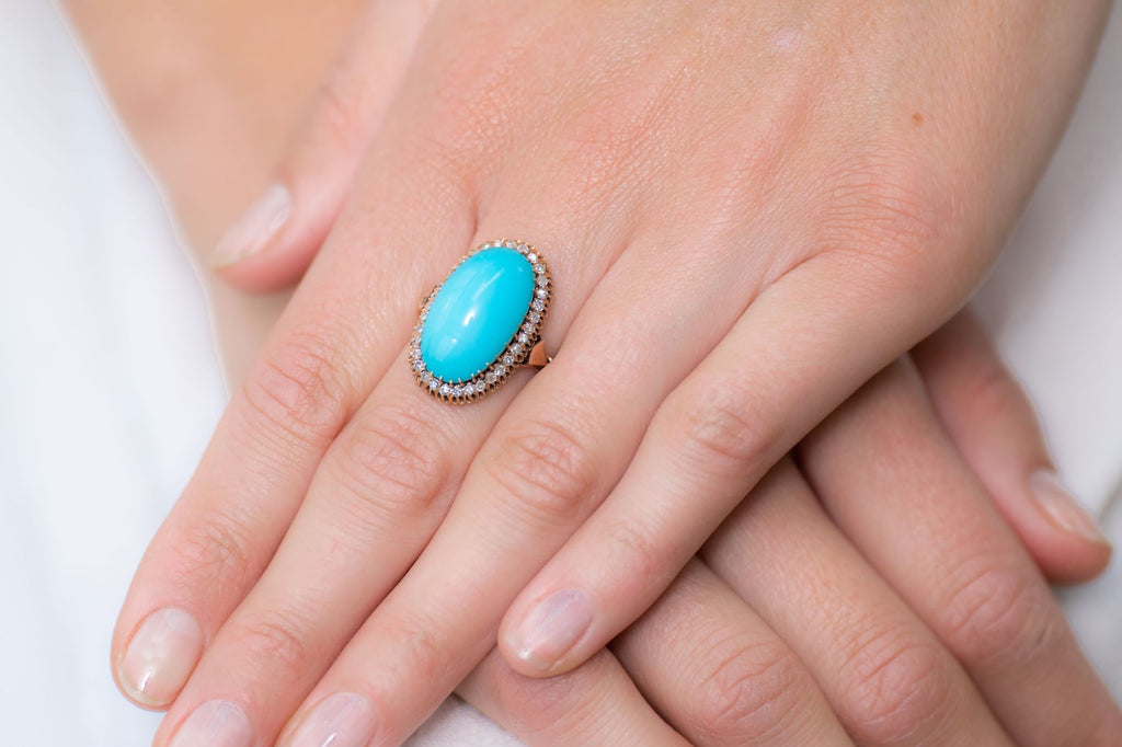 Edwardian, 18ct Gold, Natural Turquoise and Diamond Ring