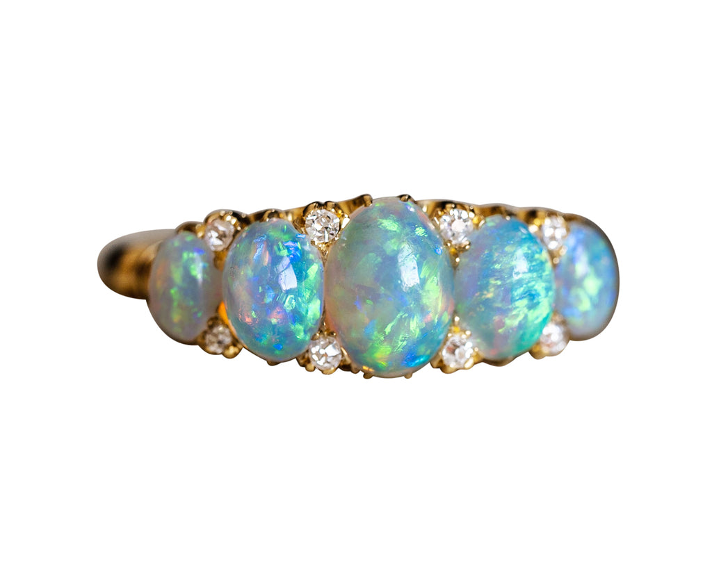 Edwardian, 18ct Gold, Opal and Diamond Five-Stone Ring