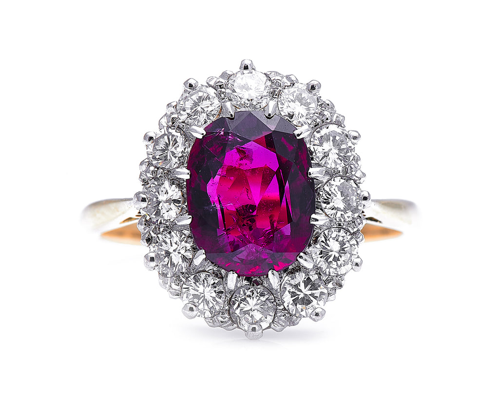 Edwardian, 18ct Gold, Rare 3ct Ruby and Diamond Cluster Ring