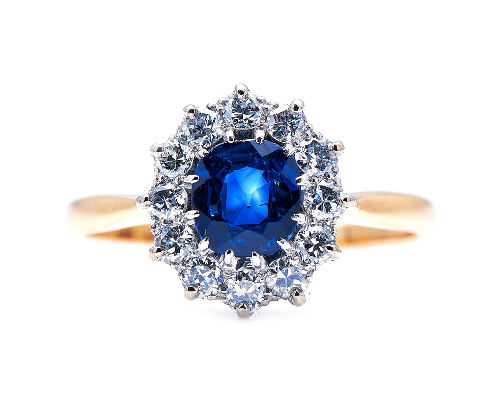 Edwardian, 18ct Gold, Sapphire and Diamond Cluster Ring