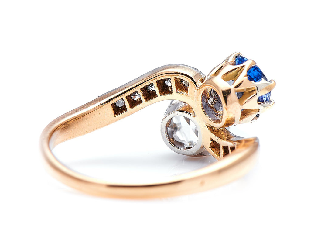 Edwardian, 18ct Gold, 'Toi et Moi' Sapphire and Diamond Ring
