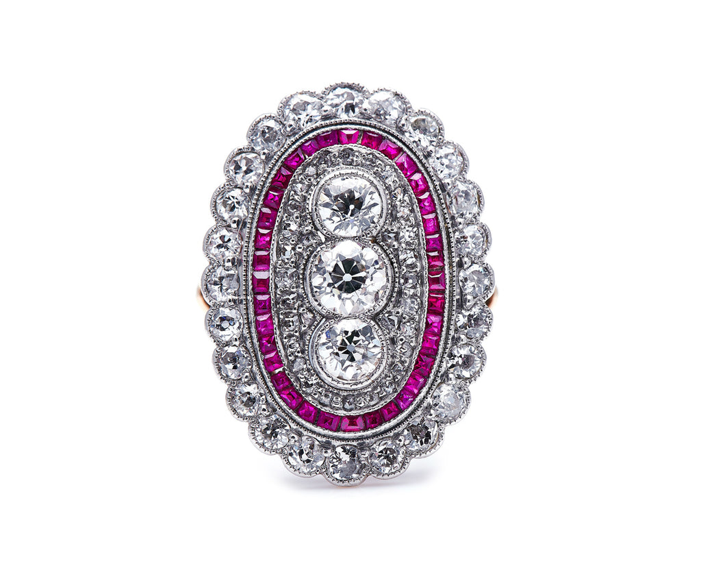 Edwardian, 18ct Gold and Platinum, Ruby and Diamond Ring
