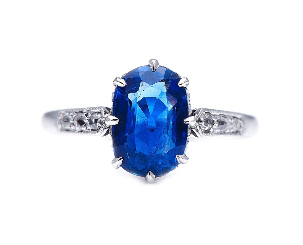 Jessica. Edwardian, 18ct White Gold, Burmese Sapphire and Diamond Ring