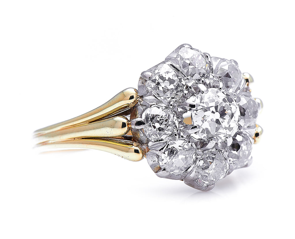 Edwardian, Austrian, 14ct Gold, Diamond Cluster Ring