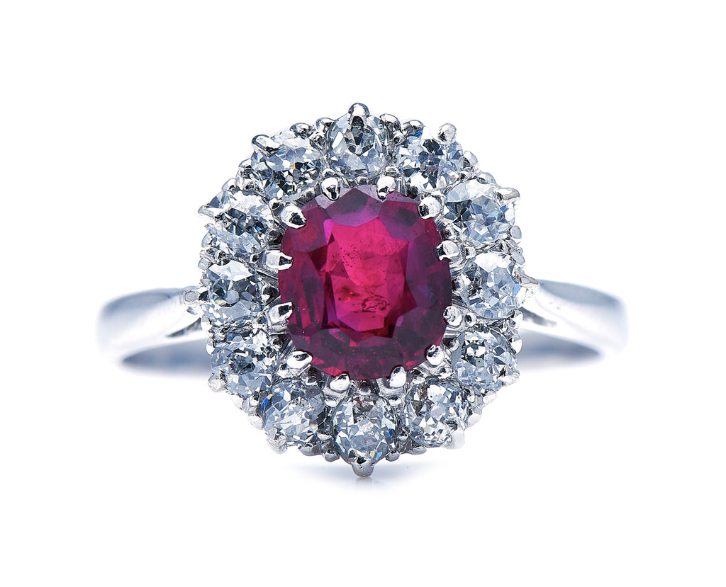Edwardian, Platinum, Burmese Ruby and Diamond Cluster Ring