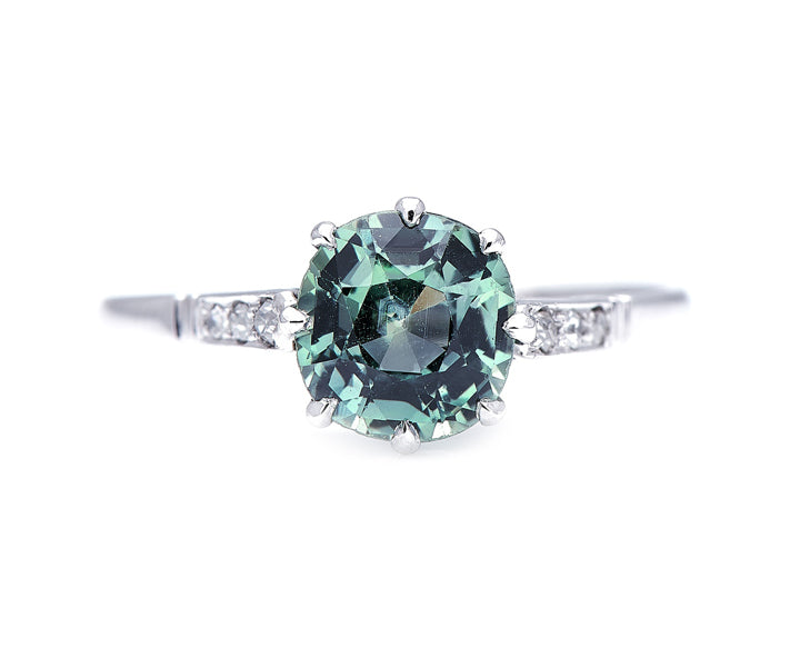 Edwardian, Platinum, Green Sapphire and Diamond Engagement Ring