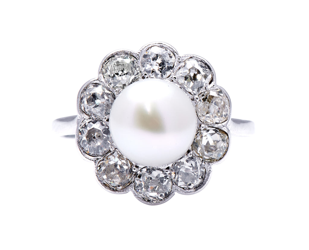 Edwardian, Platinum, Natural Pearl and Diamond Cluster Ring