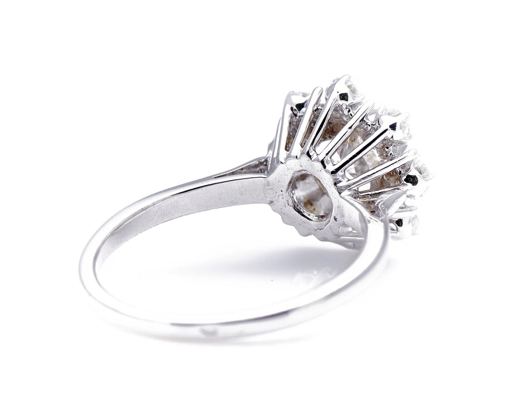 French, 1950's, 18ct White Gold, Diamond Cluster Engagement Ring