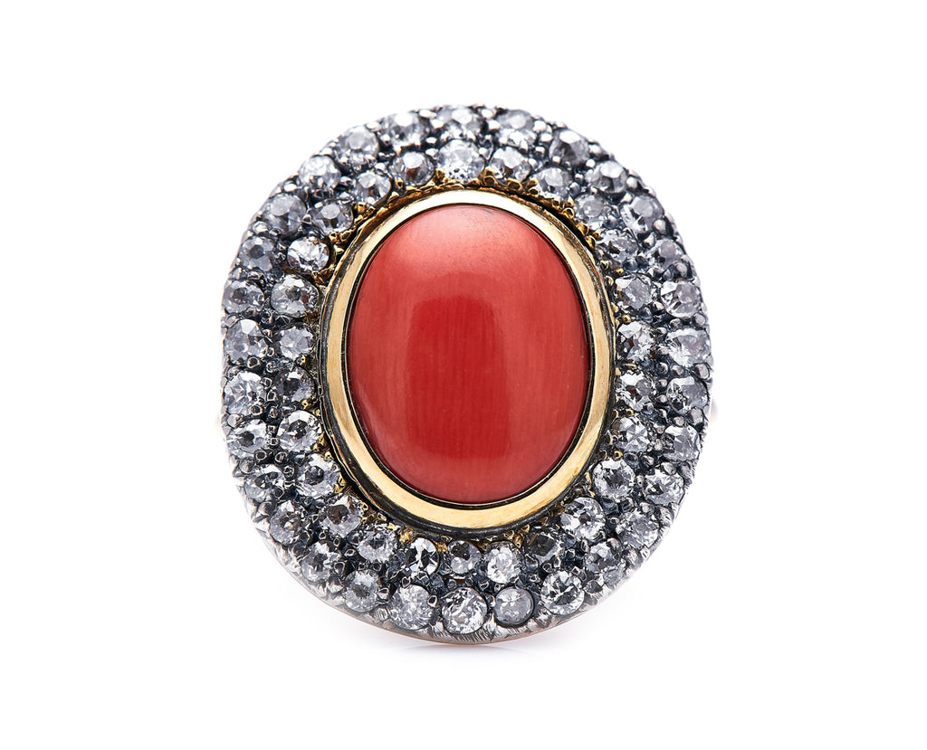 Georgian, 19th Century, 18ct Gold, Coral and Diamond Cluster Ring