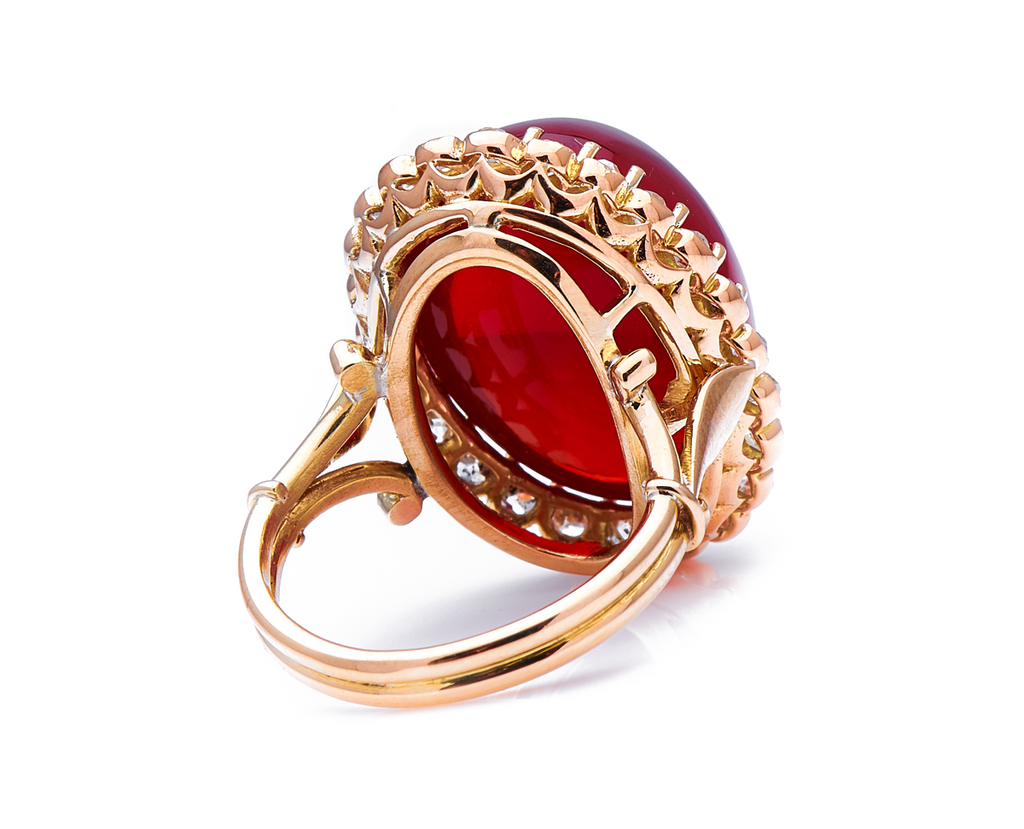 Incredible Antique Edwardian, 18ct Yellow Gold, Cabochon Fire Opal and Diamond Cluster Ring