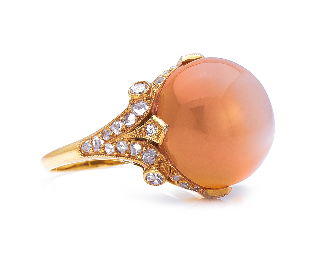 Belle Époque, 18ct Gold, Peach Moonstone and Diamond Ring