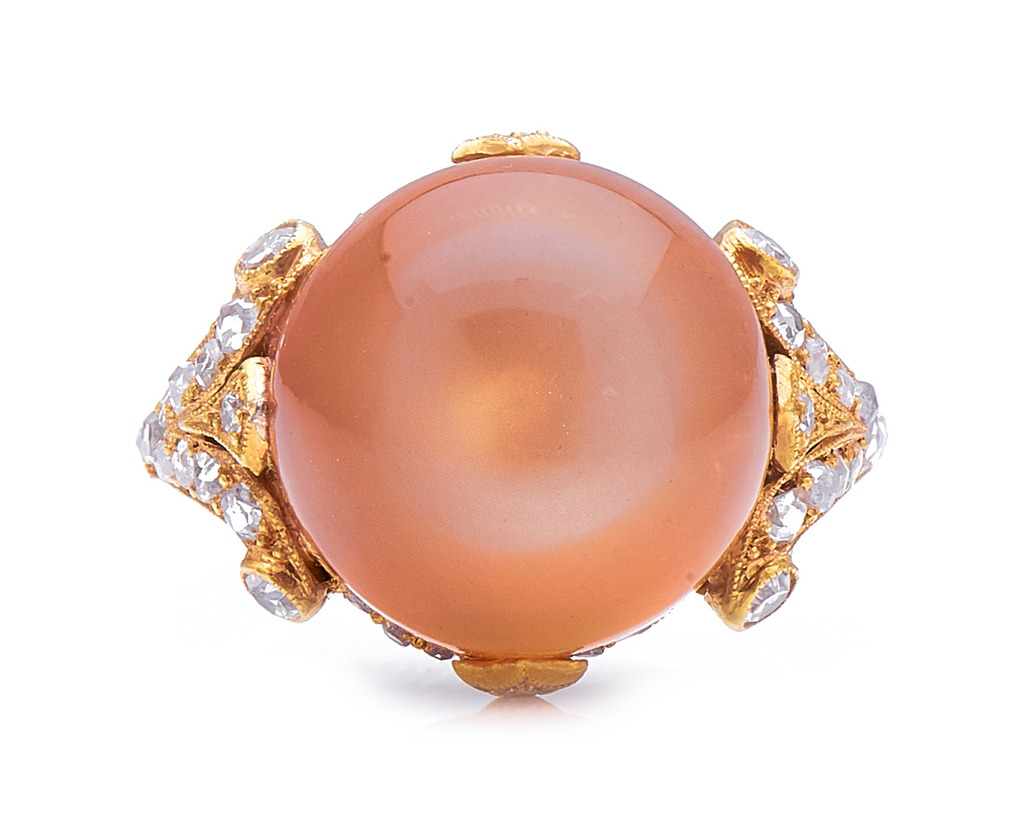 Incredible Antique, Belle Époque, 18ct Gold, Peach Moonstone and Diamond Ring