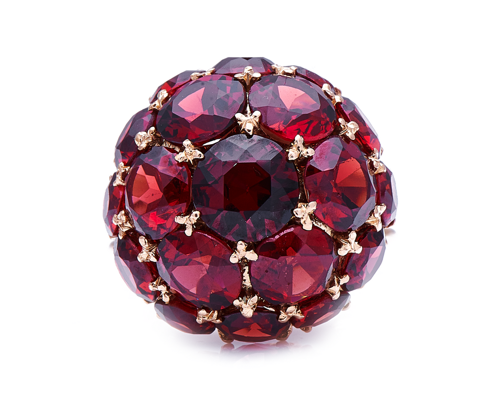 Incredible Mid Century, 1950s, 18ct Rose Gold, Garnet Cluster Ring