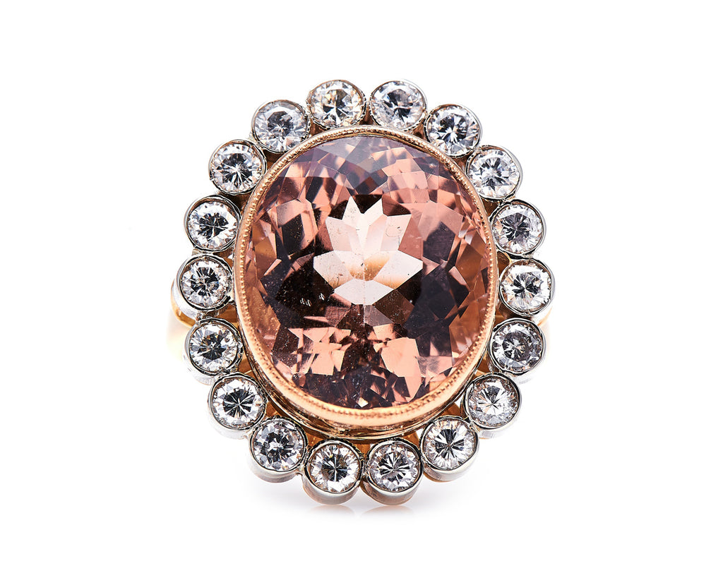 Mid Century, 1950s, French 18ct Rose Gold, Morganite and Diamond Ring