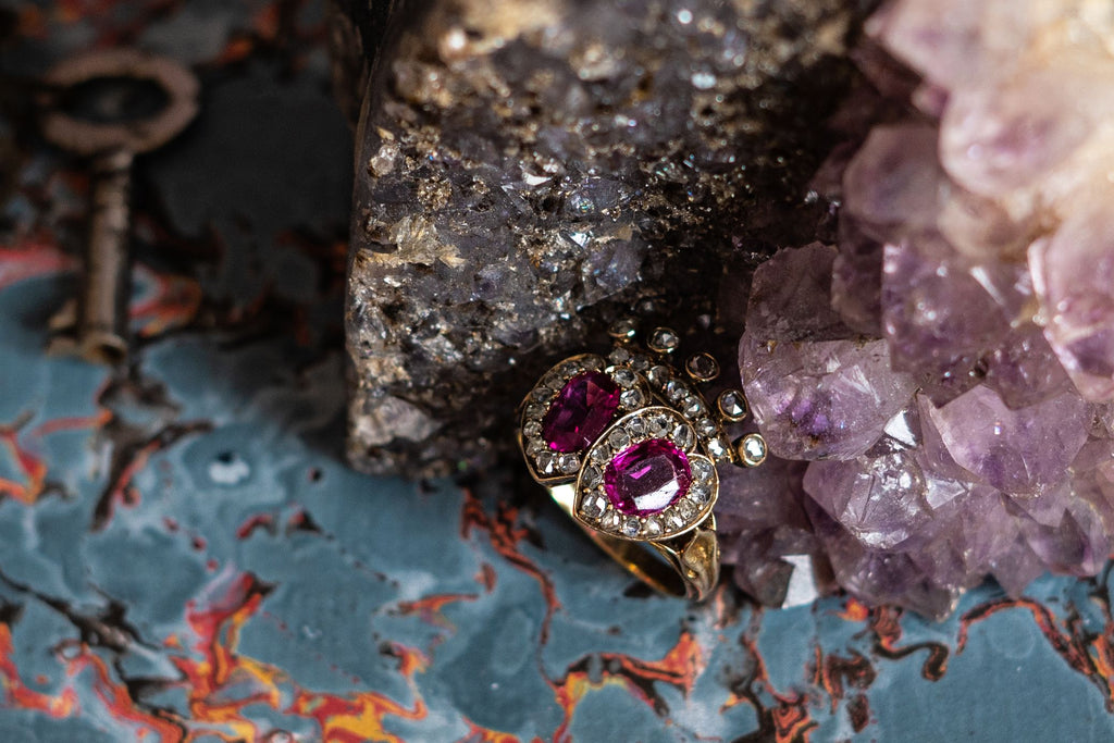 Victorian, Burmese, Double Pink Sapphire and Diamond Heart Engagement Ring