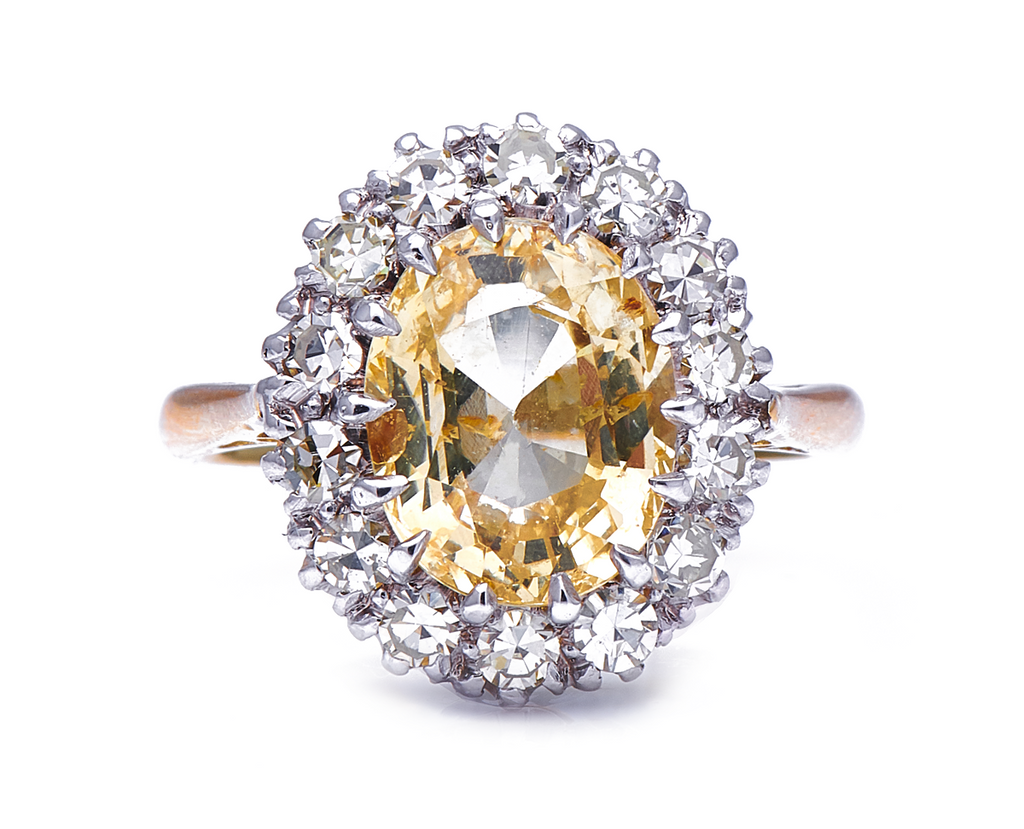 Mid-Century, 1950's, 18ct Gold, Yellow Sapphire and Diamond Cluster Ring