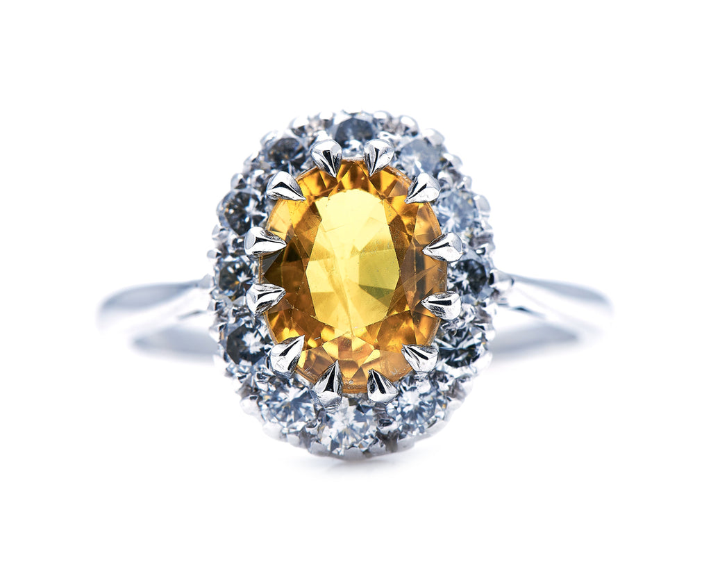 Mid Century, 18ct White Gold, Yellow Sapphire and Diamond Ring