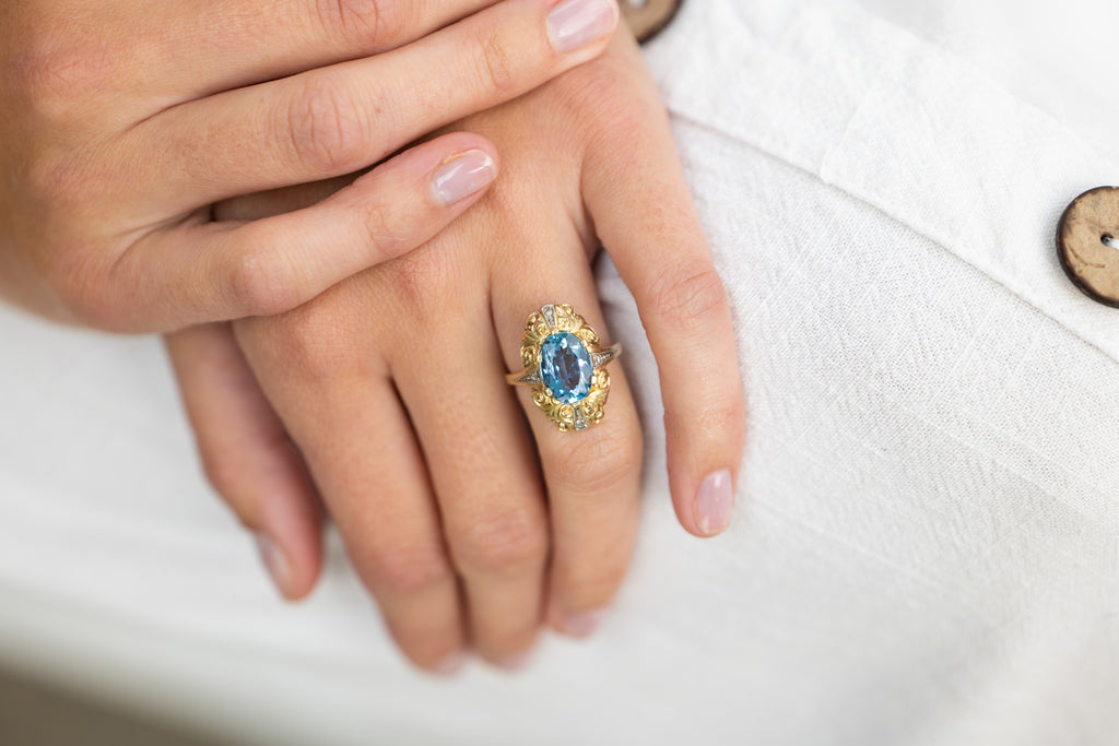 Mid Century, 1930s, 14ct Gold, Aquamarine and Diamond Ring