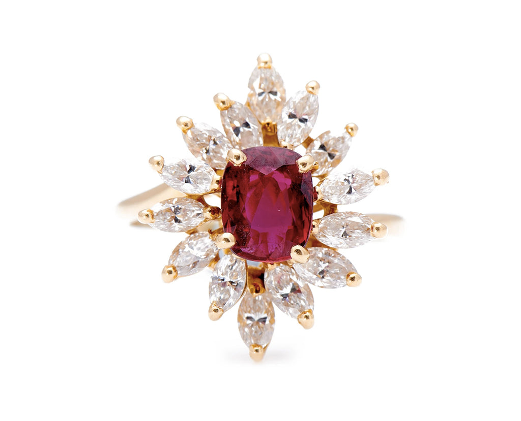 Mid Century, French, 1960's, 18ct Gold, Natural Ruby and Diamond Cluster Ring