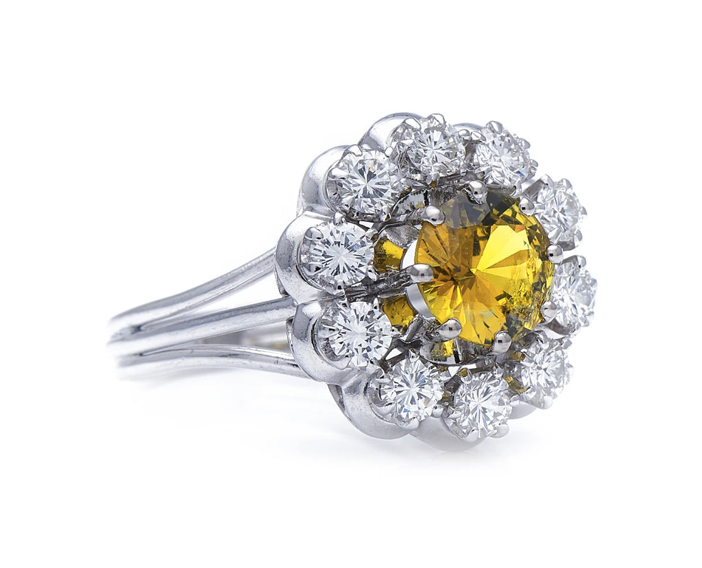 Mid Century, Platinum, Chrysoberyl and Diamond Cluster Ring