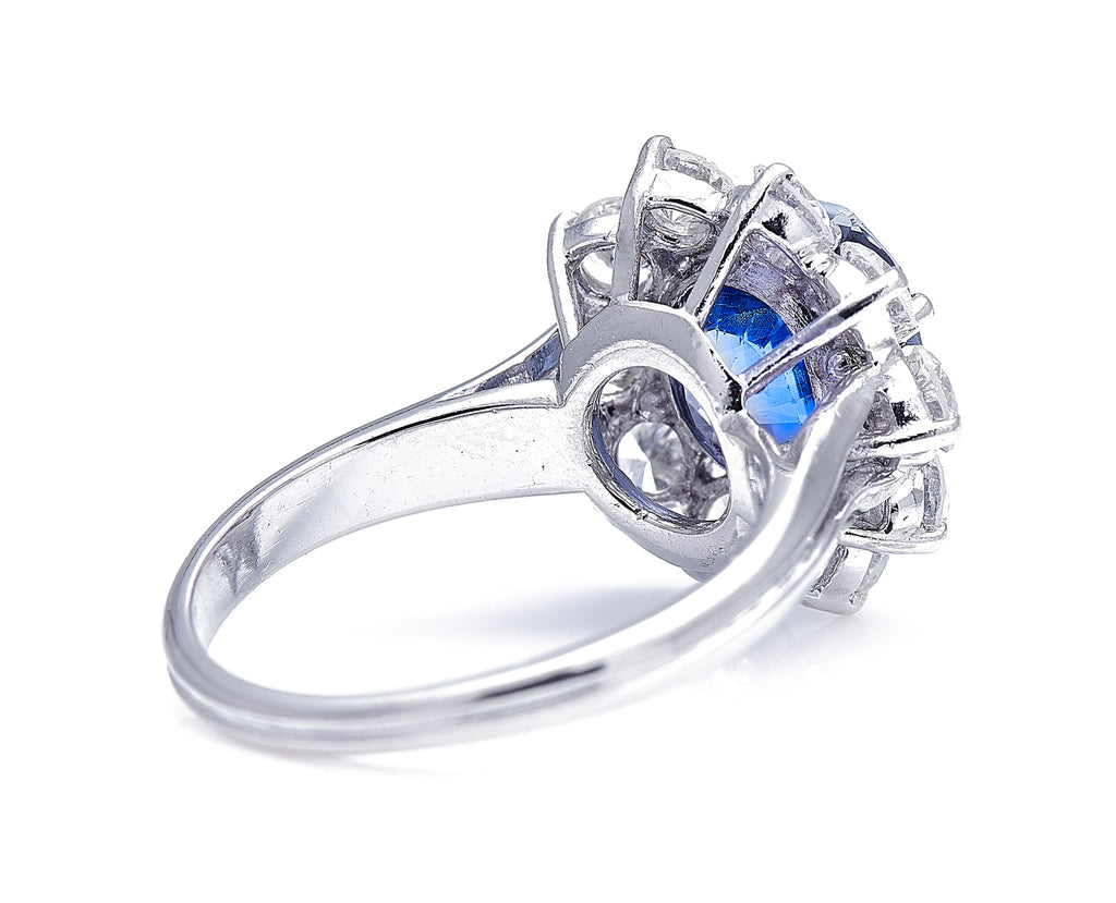 Mid Century, Platinum, Cornflower Blue Sapphire and Diamond Cluster Ring