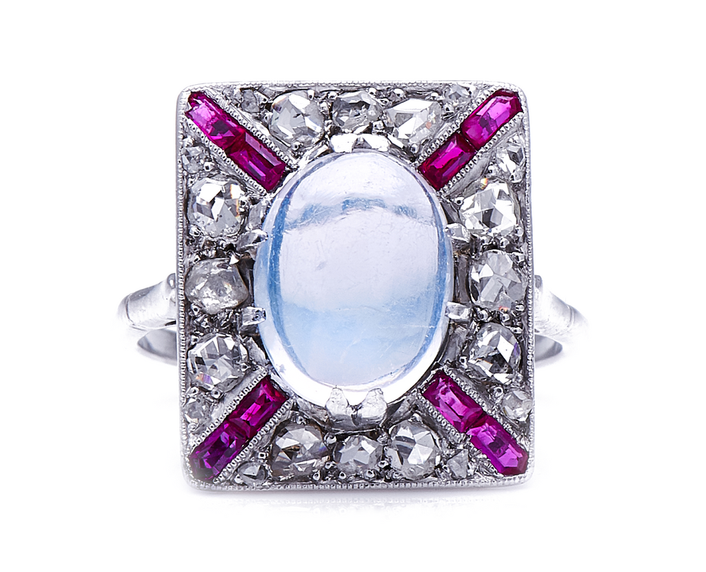 Rare Antique Art Deco, Platinum, Moonstone, Diamond and Ruby Ring