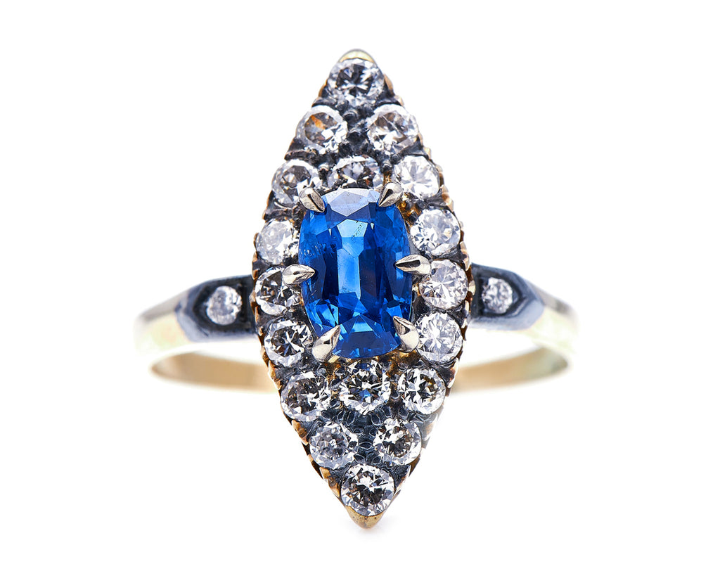 Edwardian, 14ct Gold, Sapphire and Diamond Navette Cluster Ring