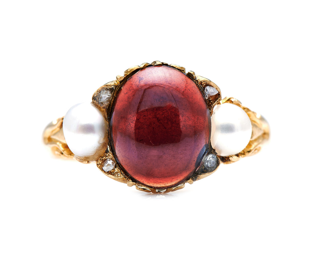 Victorian, 18ct Gold, Cabochon Garnet and Natural Pearl Ring