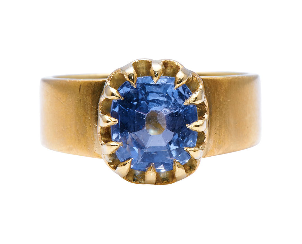 Victorian, 18ct Gold, Cushion-Cut Sapphire Engagement Ring