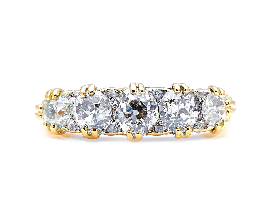 Victorian, 18ct Gold, Diamond Five-Stone Ring