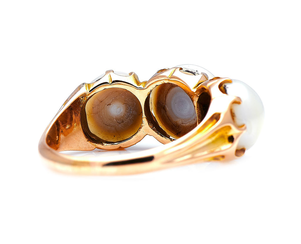 Victorian, 18ct Gold, Natural Pearl Three-Stone Ring