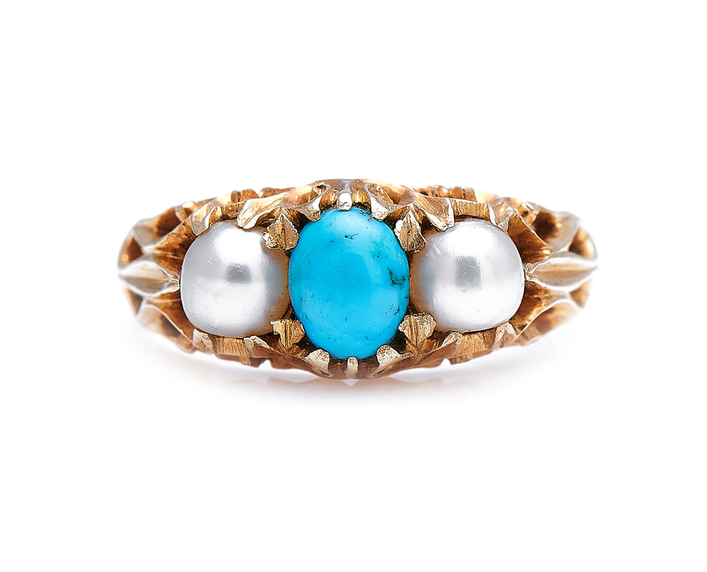 Victorian, 18ct Gold, Natural Turquoise and Pearl Ring