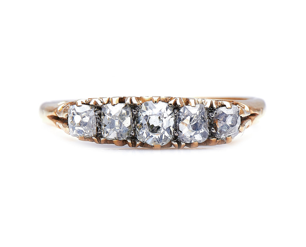 Victorian, 18ct Gold, Old-Cut Diamond Five Stone Ring
