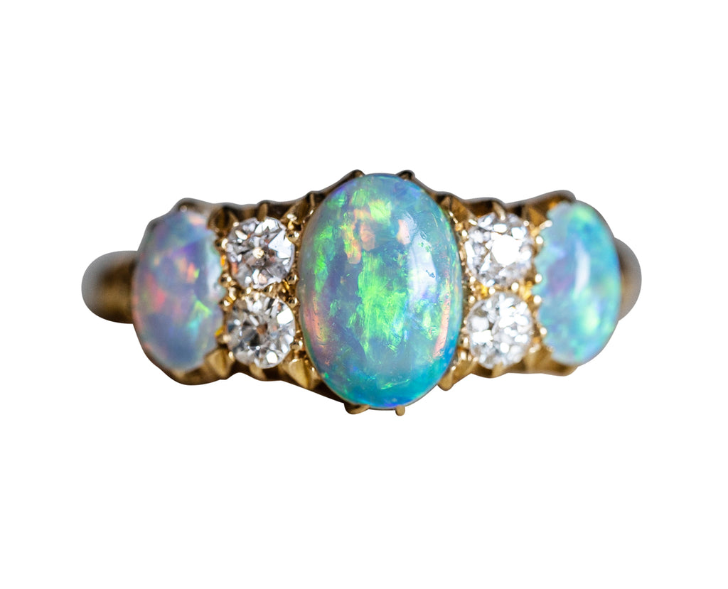 Victorian, 18ct Gold, Opal and Diamond Ring