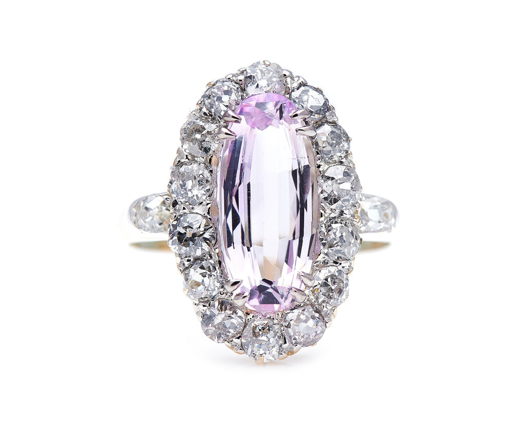 Victorian, 18ct Gold, Pink Topaz and Diamond Cluster Ring