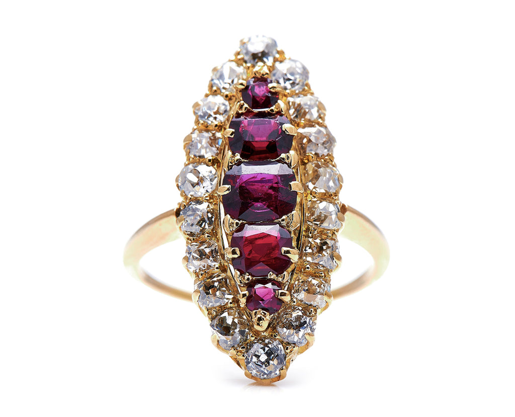 Victorian, 18ct Gold, Ruby and Diamond Navette Cluster Ring
