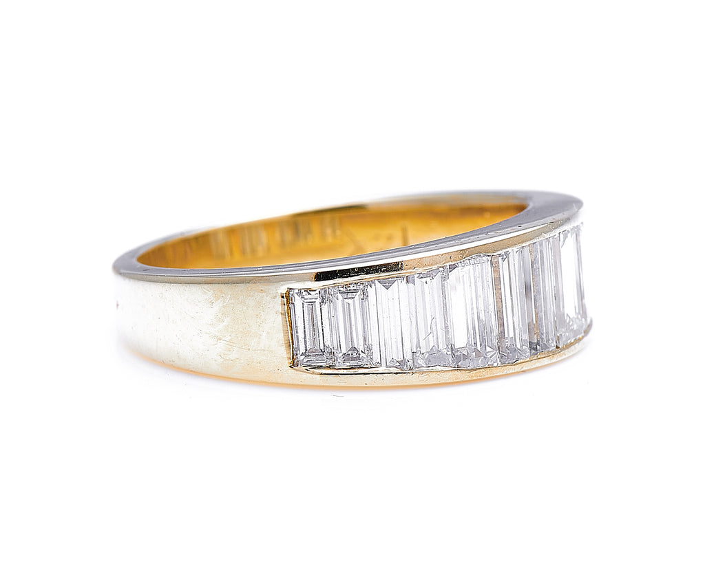 Vintage, 14ct Gold, Baguette Diamond Half-Eternity Ring