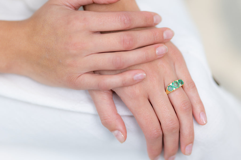 Vintage, 18ct Gold, Colombian Emerald and Diamond Three-Stone Ring