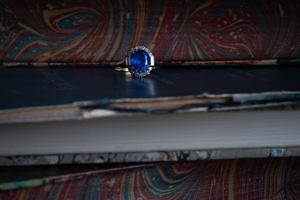 Art Deco, 18ct Gold, Burmese Sapphire and Diamond Cluster Ring
