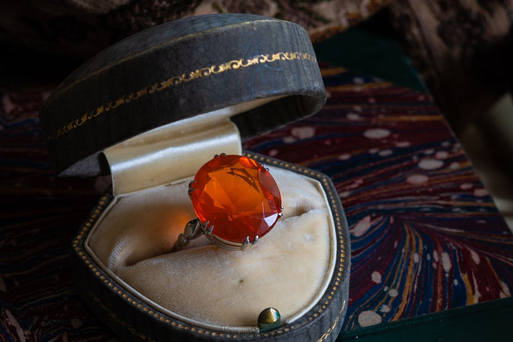 Mid Century, 1940s, Platinum, Fire Opal Ring