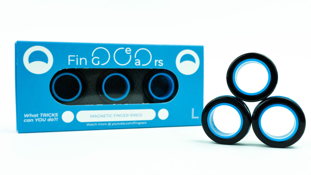 MAGNETIC RINGS. Black-Blue. Size L