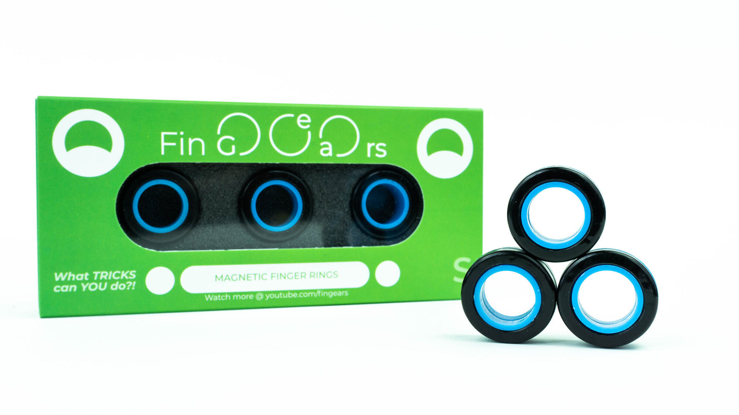 MAGNETIC RINGS. Black-Blue. Size S