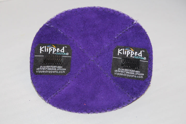 Inside Purple Suede Kippah with Clips | Kippahs & Yarmulkes | Klipped Kippahs