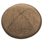 Brown Burlap w/ Brown Rim & Clip | Kippah & Yarmulks | Klipped Kippahs