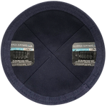 Inside Navy Linen Rim and Clip Kippah | Kippah & Yarmulks | Klipped Kippahs