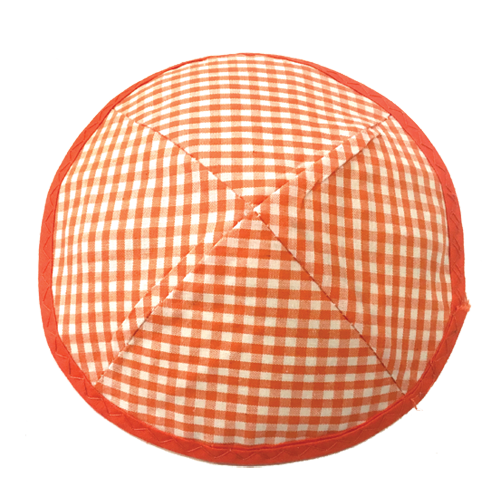 Orange Gingham Kippah | Kippahs & Yarmulkes | Klipped Kippahs
